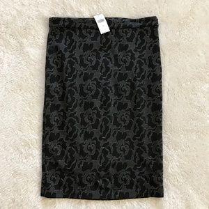 Banana Republic Knit Pencil Skirt Gray Floral 4